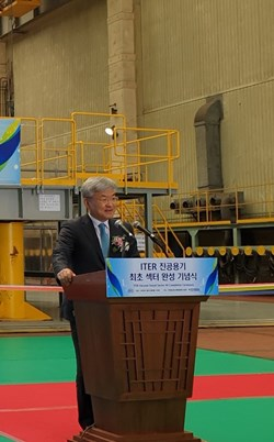 Gyung Su Lee—former President of the National Fusion Research Institute of Korea, former Head of ITER Korea, and Deputy Director-General and Chief Operating Officer of the ITER Project from October 2015 to this year—knows just how much effort, ingenuity, dedication and skill have gone into the successful manufacturing program for ITER vacuum vessel sector #6. (Click to view larger version...)
