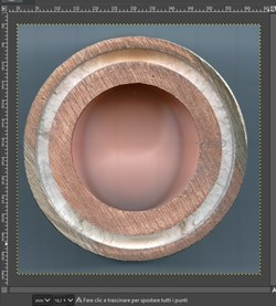 A cross section of in-vessel coil conductor, with a layer of magnesium oxide (MgO) insulation between the external stainless steel jacket and the high conductivity copper conductor (and cooling channel). (Click to view larger version...)