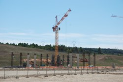 The columns will soon carry the main crane beams of the Coils Winding Facility. (Click to view larger version...)