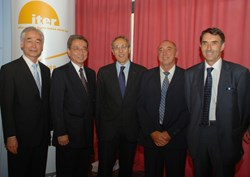 CEA Administrator-General Bernard Bigot (centre) and four of the ''exceptionally competent individuals'' who make CEA and ITER's history. (Click to view larger version...)
