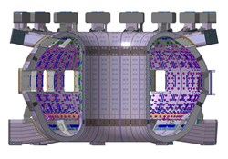 The ITER vacuum vessel will be twice as big and sixteen times as heavy as the vessel of any previous tokamak. (Click to view larger version...)