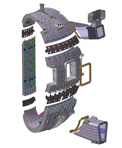 Its double-wall structure is designed to provide a high quality vacuum for the plasma as well as the first confinement barrier for tritium, forming an important part of safety of the ITER device. (Click to view larger version...)