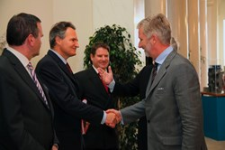 His Royal Highness Prince Philippe of Belgium (right) greeting Mr. R.J. Smits, Director-General of the DG Research of the European Commission at the academic event. Photo: Courtesy of the European Commission. (Click to view larger version...)