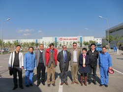 A visit to Tisco, the world's largest stainless steel producer based in Taiyuan, Shanxi province (China) on 8 November, organized by ASIPP (Wu Weiyue, 3rd from left, and Wei Jing, 3rd from right) with participation of the Technical Responsible Officer from the Chinese Domestic Agency, Li Hongwei (2nd from right), CERN metallurgy expert S. Sgobba (4th from left) and ITER representatives P. Libeyre (centre) and Arnaud Foussat (4th from right). (Click to view larger version...)