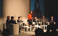 The round table discussion after the first session, led by BBC journalist Angela Lamont: LIAO Xiaohan, Deputy Director-General of the Chinese Ministry of Science and Technology; Jérôme Paméla, Agence Iter France; Kijung Jung, Head of ITER Korea; (hidden by A. Lamont) Anil Kakodkar, Indian Atomic Energy Commission; Evgeny Velikhov, President of the Kurchatov Institute, Moscow and Chairman of the ITER Council; Edmund Synakowski, Director of Fusion Energy Sciences within the US Department of Energy; and ITER Director-General Osamu Motojima. (Click to view larger version...)