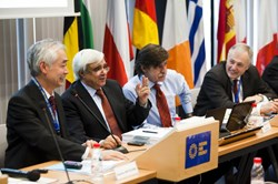 Director-General Motojima (left) during last week's F4E Board of Governors Meeting at the European Domestic Agency's Headquarters in Barcelona, Spain (here with Carlos Varandas, Octavi Quintana Trias and Raffaele Liberali). (Click to view larger version...)