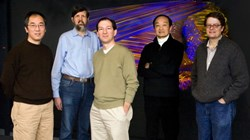 From left are PPPL scientists Weixing Wang, David Mikkelsen, Stephane Ethier, William Tang, and Greg Hammett with a plasma turbulence simulation in the background. Not pictured is WW Lee. (Click to view larger version...)