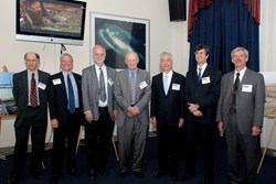From left to right: Stewart Prager; Ned Sauthoff; Ed Synakowski; Bill Brinkman; Osamu Motojima, Thom Mason and Terry Michalske (Click to view larger version...)