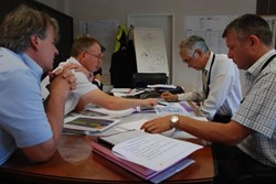 Preparation of PA 53 has been a team effort under the leadership Deputy Director-General Yong-Hwan Kim and Section Leader Robert Pearce (3rd and 2nd from left). Key players were Steve Bryan (left), responsible for the vacuum lines and Liam Worth (right) responsible for the assembly leak detection equipment. Before the signature, the team went through a last check with Director-General Osamu Motojima (2nd from right). (Click to view larger version...)