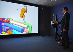 CEA/IRFM has added a capability to connect a physical robotic arm to the virtual objects that appear on the screen. (Click to view larger version...)