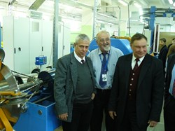 The first unit length of superconducting cable for ITER's poloidal field coil #6 will be manufactured by JSC VNIIKP and shipped to the jacketing supplier in Europe in July. From left to right: Eugen Bratu, EU-DA; Vitaly Vysotsky, Director of the VNIIKP Podolsk Office; and Sergey Lelekhov, DA Technical Responsible Officer. (Click to view larger version...)