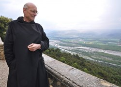 Standing at the edge of the ''island in the sky'', Dom Michel Pascal, the Abbot emeritus of the monastery of Ganagobie. (Click to view larger version...)