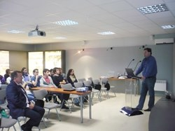 Alex Martin, Design Engineer at ITER Organization, explaining the ITER project to students from the Polytechnical University of Catalunya. (Click to view larger version...)