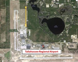 The site of the US jacketing facility (marked in yellow) on the premises of Tallahassee Regional Airport. The Cable Payoff Building and the Compaction and Spooling Building are at opposite ends. (Click to view larger version...)
