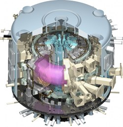A cut-away view of the ITER Tokamak, revealing the donut-shaped plasma inside of the vacuum vessel. (Click to view larger version...)