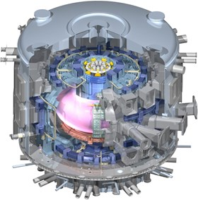 Hydrogen, helium with up to 5% hydrogen, then deuterium, and eventually the ''actual fusion fuels,'' deuterium and tritium in equal proportion. On its way to full deuterium-tritium operation, ITER will experiment with a succession of plasma fuels. (Click to view larger version...)