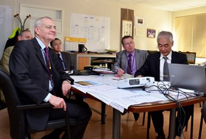 President Bianco (left) looks at ITER from both a global and local perspective. He is seen here in Director-General Motojima's office with Deputy Director-General Carlos Alejaldre, Head of ODG Takayuki Shirao and Head of Communication Michel Claessens. (Click to view larger version...)