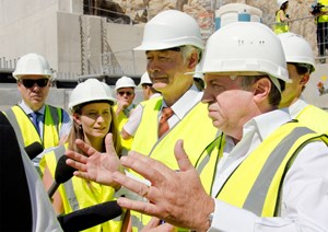 Amidst a forest of microphones and TV cameras, Mr Guérini, president of the Bouches-du-Rhône Council, communicated his enthusiasm for the ITER project. (Click to view larger version...)