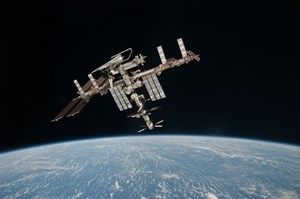 ''For the first time in human history, we're now finding industrialized nations forming partnerships to design and build complex, technological assets for which no nation alone can bear the cost or the risk.'' (Pictured, the International Space Station.) (Click to view larger version...)