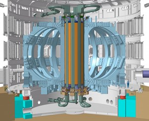 The central solenoid (in orange and green), the backbone of ITER's magnet system. Copyright: ITER Organization (Click to view larger version...)