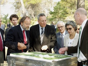On 15 July 2003, as two European sites were competing to host ITER, French Research Minister (and astronaut) Claudie Haigneré presented the Cadarache site to Commissioner Busquin. Also present were Jean Jacquinot (left) and former IFMIF-EVEDA project leader Pascal Garin (right). (Click to view larger version...)