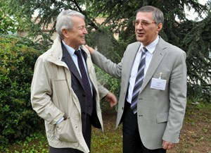 Englen Azizov, the director of the Institute of Tokamak Physics at Triniti (left), here with colleague Oleg Filatov, director of the Efremov Institute in Saint Petersburg, says Triniti has the experience and the tools to host Ignitor. (Click to view larger version...)