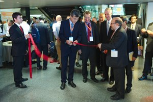 Opening the floor to the ISFNT Industrial Exhibition: Chairman Joaquin Sanchez (CIEMAT director); Fusion for Energy Director Henrik Bindslev; ITER Director-General Osamu Motojima; Vice-Consul of Netherlands in Barcelona Dirk Kremer; Hideyuki Takatsu, part of the ISFNT steering committee and ITER Council Chair; and Pere Torres, Secretary of Enterprise and Competitiveness for the Generalitat de Catalunya. (Click to view larger version...)
