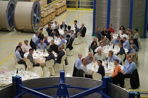 Dining among spools of coiled conductor at Criotec (Turin, Italy) could only be good for the morale of the 50+ participants at the latest Conductor Meeting. (Click to view larger version...)