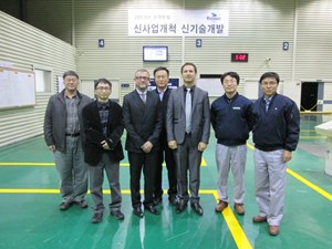 Arnaud Devred and Alexander Vostner from ITER (third and fifth from left) visited Kiswire Advanced Technology (KAT) just before the issue of ATPPs for the final batch of strand billets on 21 November. With them, from left to right, are Soun Pil Kwon and Soo-Hyeon Park from ITER Korea and Pyeong Yeol Park, Kihong Sim and Kyeong Ho Jang from KAT. (Click to view larger version...)