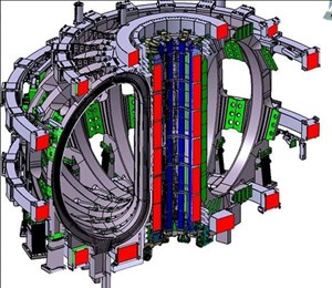 In the centre of the machine, stored magnetic energy of 6.4 GJ in the central solenoid will initiate and sustain powerful plasma current. (Click to view larger version...)