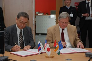 PA #34 was signed for the central solenoid magnet, the backbone of ITER's magnet system with Ned Sauthoff, the Project Manager of the US Domestic Agency. (Click to view larger version...)