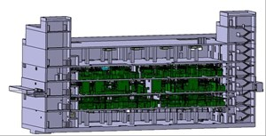 Each diagnostic system will be assigned a room on one of the three central floors of the Diagnostics Building. Top and bottom floors will house the ventilation systems, cooling units and cable trays. (Click to view larger version...)