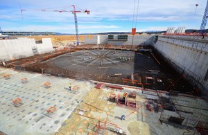 The concrete basemat for the Diagnostics Building, located to the south of the machine, was completed in February. (Click to view larger version...)
