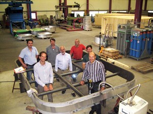 At the Swiss firm Kompaflex, where the water pressure test on the full-size rectangular bellows prototype was successfully carried out: Guillaume Vitupier and Igor Sekachev from ITER (front row) and the Kompaflex team: Werner Löhrer, CEO (centre); Remo Hribernigg, project leader; Bairush Ajeti, expediting; Antonio Coelho Soares, certified welder; and Markus Kaltenhauser, head of engineering. (Click to view larger version...)