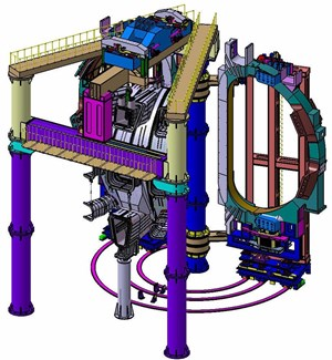 Each 40° sub-sector assembled by this Sub-Assembly Tool will comprise one vacuum vessel sector, two toroidal field coils, and thermal shields. (Click to view larger version...)