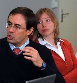 Martin Dentan and Krystyna Marcinkiewicz during the CCB2 meeting last week. (Click to view larger version...)