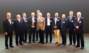 The one-day conference offered an impressive line-up of leading project managers (left to right): Harvey Maylor, Stephen Carver, Oleg Tumasov, ITER Director-General Bernard Bigot, Steven Cowley, Roberto Saban, Harley Lovegrove, Simon Addyman, Bruno Kahne, conference organizer Joe Onstott, and chairman Steve Wake. (Click to view larger version...)