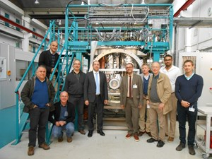 The temperature sensor test facility, the CEA project team, and a delegation from the ITER Magnet Division at the contract steering committee meeting held in November 2015. (Click to view larger version...)