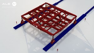This 3D image shows the type of gantry crane that will be used to support loads of 400 tons. © Elytt Energy (Click to view larger version...)