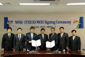 Joining forces: ITER Director-General Kaname Ikeda (3rd from right) and the President of the NFRI, Gyung-Su Lee (3rd from left), after signing at the MEST this week. Also in the picture are Moon Gi CHOI (Deputy Director MEST), Dae Soo YOON(MEST Director General), Jung Hyun KIM (Vice Minister MEST), Hyun Su KIM (Director MEST) and Ki Jung JUNG (Director General, ITER Korea). (Click to view larger version...)