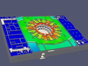 This model shows the neutron flux within the Tokamak Building with the highest levels in red and the lowest in blue. The confinement properties of the port cell doors (the white lines forming a circle) are clearly illustrated. (Click to view larger version...)