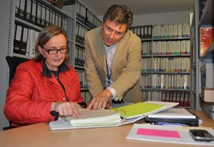 ''The Knowledge Preservation Plan will become a permanent fixture of ITER life,'' says Document Control Section Leader Daniele Parravicini, here with his assistant Sybille Villareal. (Click to view larger version...)