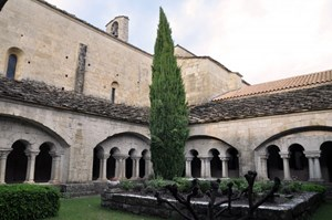 The 12th century cloister has been reconstructed based on the few surviving arches—Ganagobie is now very much like it was in the late High Middle Ages. (Click to view larger version...)