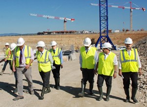 Tim Watson, Head of the ITER Directorate for Buildings and Site Infrastructure and Takayuki Shirao, Head of ODG, led the assessors' visit to the ITER work site. (Click to view larger version...)