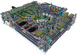 Isometric view of the ITER plant systems in Level B2, B2M, B1 and L1 of the Tokamak Complex. (Click to view larger version...)