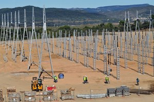 The four-hectare switchyard is composed of seven 400 kV bays equipped with double busbars that will supply the power to the steady state and pulsed power networks. (Click to view larger version...)