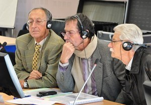 President of the Public Enquiry Commission André Grégoire (centre) and colleagues Michel Thibault (left) and François Coletti listen intently as ITER DDG Carlos Alejaldre presents the most recent developments in the ITER project. (Click to view larger version...)