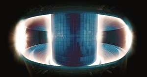 In the heart of the Korean tokamak KSTAR, a plasma pulse burns brightly. But don't be fooled—the brightest areas of the photo are in fact the coolest. At 150 million °C (the temperature in the centre), the plasma doesn't emit in the spectrum of visible light. © National Fusion Research Institute, Korea (Click to view larger version...)