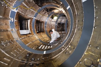The Tore Supra tokamak, at the French research centre CEA Cadarache, is undergoing a profound transformation to become a test bed for the ITER tungsten divertor. (Click to view larger version...)