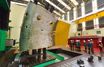 Th six-metre-tall structure currently on the shop floor in Ulsan is only the small upper segment of one of the nine ITER vacuum vessel sectors. (Click to view larger version...)